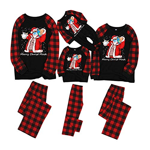 FORUU Mens Christmas Pajamas for Family Letter Printed Top and Plaid Pants for Adult Couples Matching Xms Pjs Sets Sleepwear Holiday Decoration Best Merry Christmas Favor Dad Set