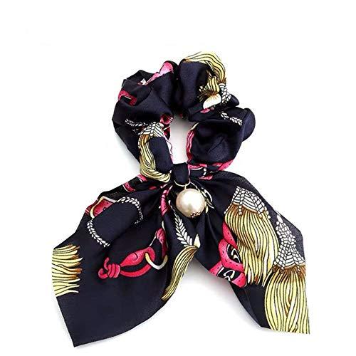 Bowknot Ponytail Holder Élastique Cheveux Bandes pour Filles Fleur Impression Cheveux Accessoires Femmes Hairband Ruban Chapeaux, A-Bleu Foncé