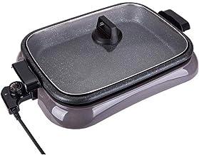 POÊLON, antiadhésif D Plat robuste avec couvercle Poêle électrique en verre trempé et Ventilé facile for Spout, lave-vaiss...