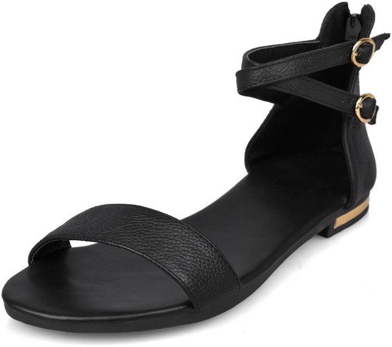 AmoonyFashion Women's Soft Material Zipper Open Toe No Heel Solid Flats-Sandals