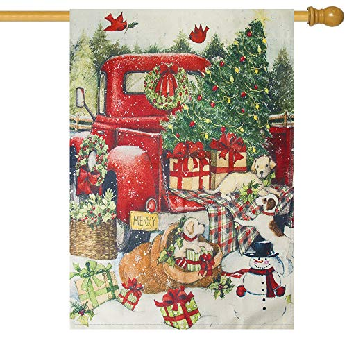 Besslly Christmas Garden Flag 28 x40 Double Sided Winter Yard Flag with Christmas Tree Red Truck Dog Gift Box Decor House Flags Outdoor Christmas Decorations