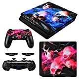 eXtremeRate Full Set Faceplate Skin Decals Stickers and 2 Led Lightbar for Playstation4 Slim/PS4 Slim Console & 2 Controller Decal Covers for Dualshock 4 PS4 - Ghost Fire