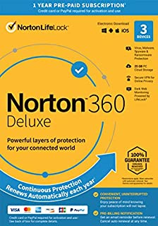 Norton 360 Deluxe 2021 – Antivirus Software for 3 Devices with Auto Renewal - Includes VPN, PC Cloud Backup & Dark Web Monitoring Powered by LifeLock [Key Card] (B07QFXSQFP) | Amazon price tracker / tracking, Amazon price history charts, Amazon price watches, Amazon price drop alerts