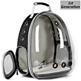 Hcupet Clear Kitten Backpack, Airline Approved Space Capsule Pet Carrier Backpack for Small Dog, Transparent Waterproof Cat Carrying & Holding Outdoor Backpack