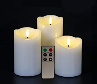 Eywamage Flameless Pillar Candles Battery Operated Real Wax LED Candles with Remote Timer Ivory 3 Pack D 3