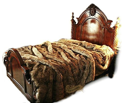 """Why Should You Buy Timber Wolf Faux Fur Bedspread Coyote Timberland Collection Luxury Fur Bedding and Rugs (Twin 60""""x96"""")"""