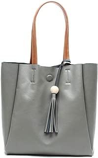TWTAI Simple Multi-Function Large Capacity Shoulder Bag Shoulder Slung Leather Handbag (Color : Gray)