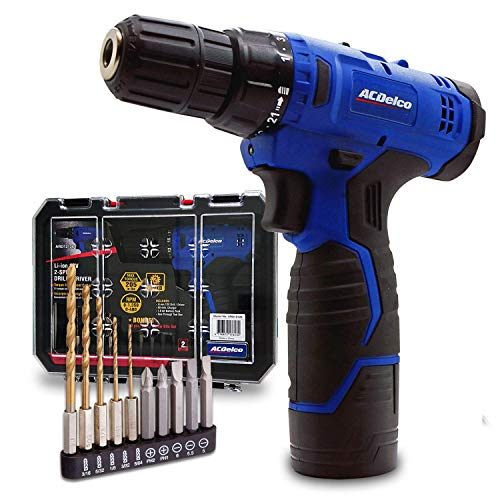 """ACDelco ARD12126S1 12V Lithium-Ion Cordless 2-Speed 3/8"""" Drill Driver Kit (10 Bits, Battery, Charger, Tool case) (Renewed)"""