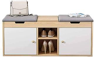 JJZXT Chaussures en Bois étagère à Chaussures Rack de Rangement Organisateur Couloir Siège rembourré Banc Salon Chambre (C...