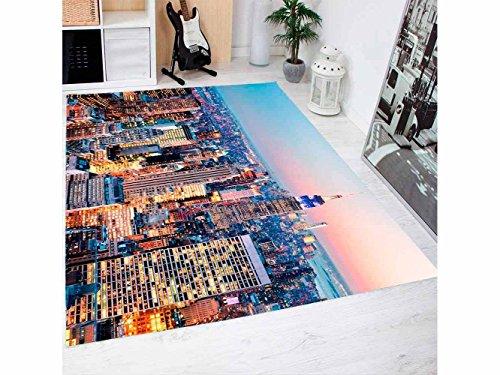 Oedim New York Skyline Teppich PVC 95 cm x 200 cm | PVC Erwachsener Teppich | Vinylboden für Erwachsene