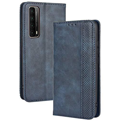 TANYO Leder Folio Hülle für Huawei P smart 2021, Premium Flip Wallet Tasche mit Kartensteckplätzen, PU/TPU Lederhülle Handyhülle Schutzhülle - Blau
