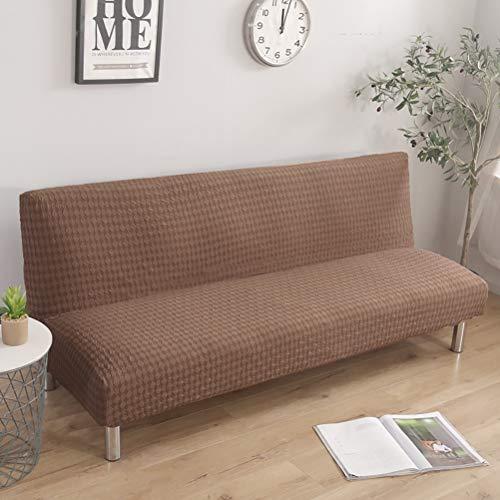Fundas de sofá de punto geométrico, suaves, sin mangas, de una sola pieza, protección de muebles duradera, a prueba de polvo, antideslizante, cama plegable, camel de 162 a 194 cm