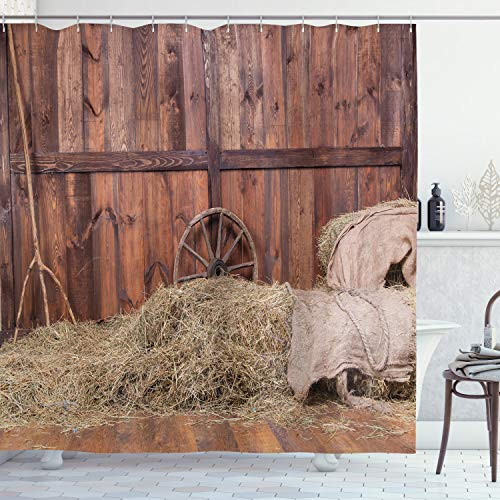 """Ambesonne Barn Wood Wagon Wheel Shower Curtain, Rural Old Horse Stable Barn Interior Hay and Wood Planks Image Print, Cloth Fabric Bathroom Decor Set with Hooks, 70"""" Long, Brown Dust"""