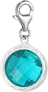 Clip on Birthstone Charm Dangle Pendant for European Clip on Charm Jewelry with Lobster Clasp