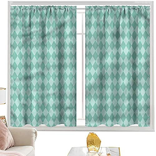Cortina opaca para barra de cortina Aqua,Rectangular Geométrico Azulejo W52 x L72 Pulgadas Cortinas de panel