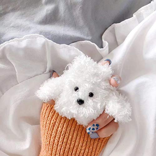 SevenPanda für Airpods 1 und 2 Plush Hülle, Knitted Süße 3D Lustig Cartoon Winter Airpod Hülle, Schutzohrhörer Deckt Hautschutzbeutel für Kinder Teens Jungen Airpods (H& - Weiß)