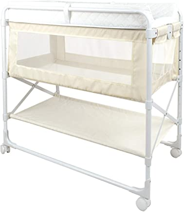 Beige Green Folding Baby Changing Table Baby cot  Home Adjustable Children Girl Boy Diaper Station with Storage  Nursery Organizer for Infant