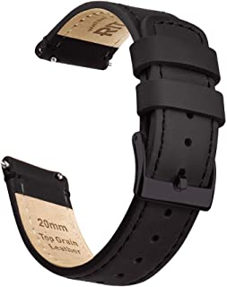 Quick Release Leather Watch Band Top Grain Leather Watch Strap 18mm, 20mm or 22mm for Men and Women