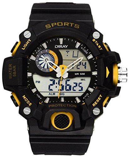 DIRAY Herren Uhr Analog-Digital Digitales Quarzwerk mit Plastik Armband wasserdichte mit Uhrenbox HSBCP0051