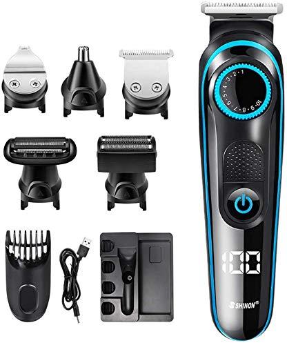 Tagliacapelli Regolabarba Uomo professionale Impermeabile Rasoio per capelli 5 in 1, Lavabile, pettine per i capelli o barba