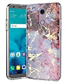 SPEVERT Case Compatible with LG Stylo 4 Case for LG Stylo 4 Plus Case for LG Q Stylus Case Marble Pattern Hard Back Soft TPU Raised Edge Shock Absorption - Pink Red