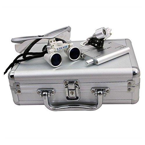 DiLiBee Binokularlupen Lupen Dental Surgical Binocular 3.5X420mm + LED Dental Scheinwerferlampe Vergrößerung Scheinwerfer mit dem Fall