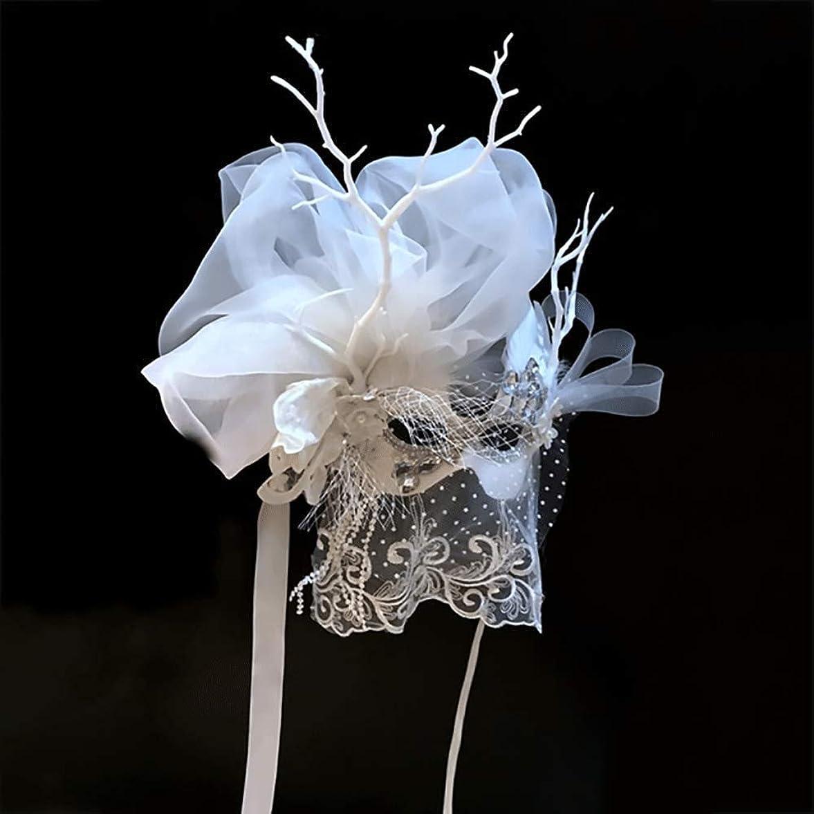 目的ホールドセミナーNanle ハロウィンラグジュアリーマスカレードマスクメタルラインストーンイブニングパーティーVenetian Mardi Gras Party Mask (色 : 白)