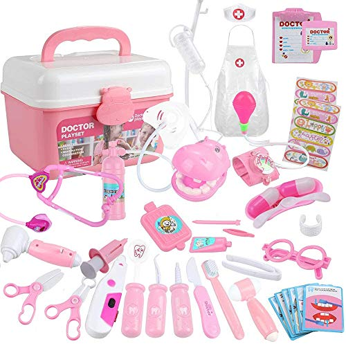 OOCOME Juego de 44 piezas de doctor para nios, juego de juguetes doctores con estuche de regalo resistente para nias/nios/escuela/aula/disfraz de 3 a 6 aos (rosa)