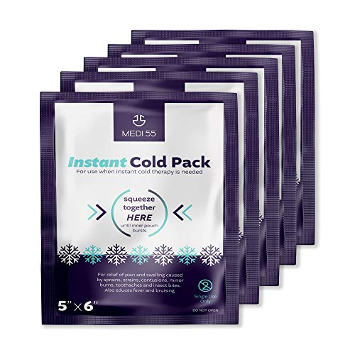 """Instant Cold Packs - (5"""" x 6"""") Disposable Cold Compress Therapy Instant Ice Pack for Injuries, First Aid, Pain Relief for Tooth Aches, Swelling, Sprains, Bruises, Insect Bites (Pack of 6)"""