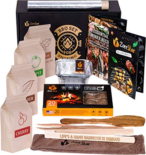 Zorestar Grill Cooking Set for Smoking: Wood Chips Variety/Smoker Box/BBQ...