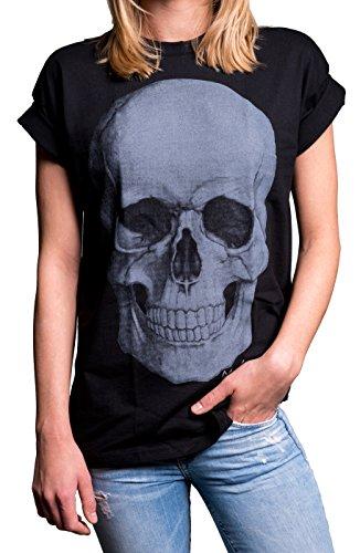 Coole Frauen Shirts mit Totenkopf - Skull Oberteil - Übergröße weit geschnitten Kurzarm schwarz große Größen XXXL