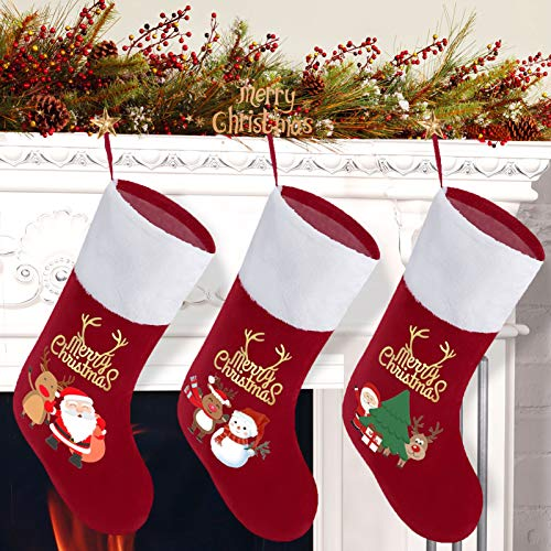 K-SLWX Weihnachsstrumpf 3er Set,Nikolausstiefel zum Befüllen&Aufhängen, Weihnachtsdeko,Hängende Strümpfe auf Kamin,Schaufenster