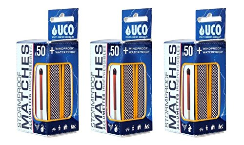 UCO Bundle - 3 Items: 3 Twin-Packs 0f Stormproof Matches (150 Matches)
