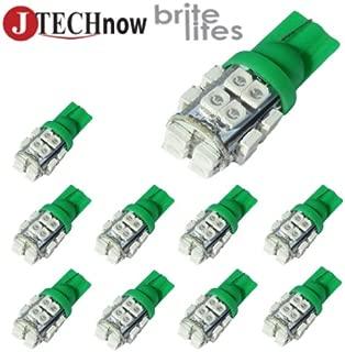 Jtech 10x T10 20-SMD Green 194 168 2825 W5W LED Car Lights Bulb
