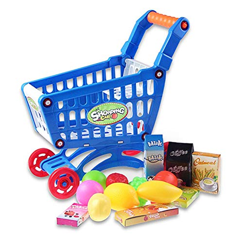 1 Set De Juguetes Educativos Compras Niños Supermercado Mini Carro De Compras Con Completa Platos Para Niños De Los Niños Niños Aprendizaje Para El Desarrollo - Azul