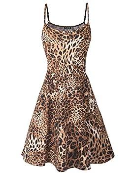 FINMYE Fit and Flare Dress Juniors Skater Flowy Swing Sundress Spaghetti Strap Dresses  Large Brown Leopard