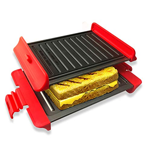 Microwavable Grill Portable Sandwich Maker Panini & Waffle Press with Non-Stick Coated Plates, Multifunction Microwave Grill Pan, Red (10.6inch)