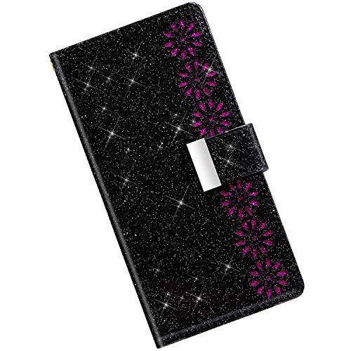 Qjuegad Kompatibel mit Samsung Galaxy A21 Handyhülle Handytasche Leder Hülle, Bunt Glitzer Bling Glänzend Blumen Muster Flip Schutzhülle Reißverschluss Brieftasche Wallet Tasche,Schwarze
