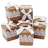 Caja de regalo Candy de papel Kraft, caja de almohadas para bodas, fiestas de cumpleaños, 50 unidades, cuadrado