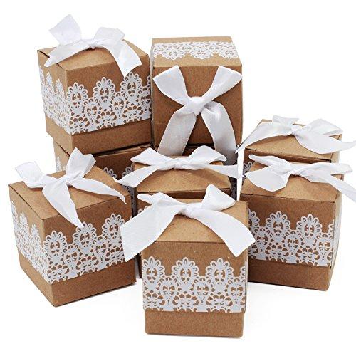 HSeaMall Kraft Papier Candy, Geschenk-Box Kissen Box für Hochzeit Geburtstag Party 50 - Quadrat