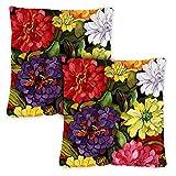 Toland Home Garden 761214 <span class='highlight'><span class='highlight'>Zippy</span></span> Zinnias 18 x 18 Inch Indoor/Outdoor, Pillow Case (2-Pack)