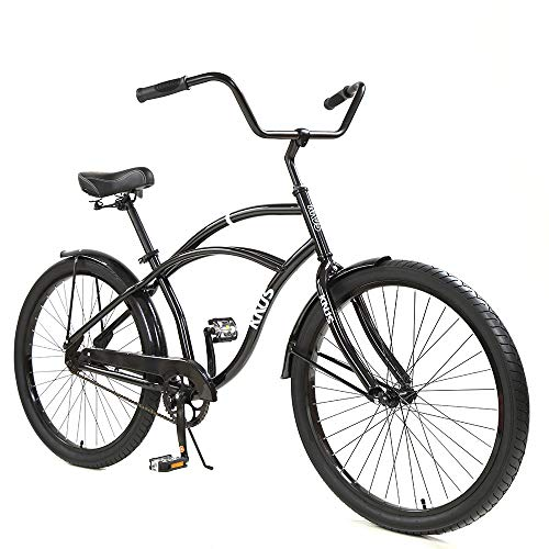 Beach Cruiser Bike,26 inch Urban Single Speed Men Women's Cruiser Bicycle-Dark