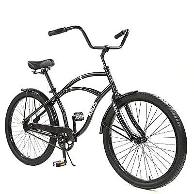 Knus Beach Cruiser Bike,26 inch Urban Single Speed Men Women's Cruiser Bicycle-Dark