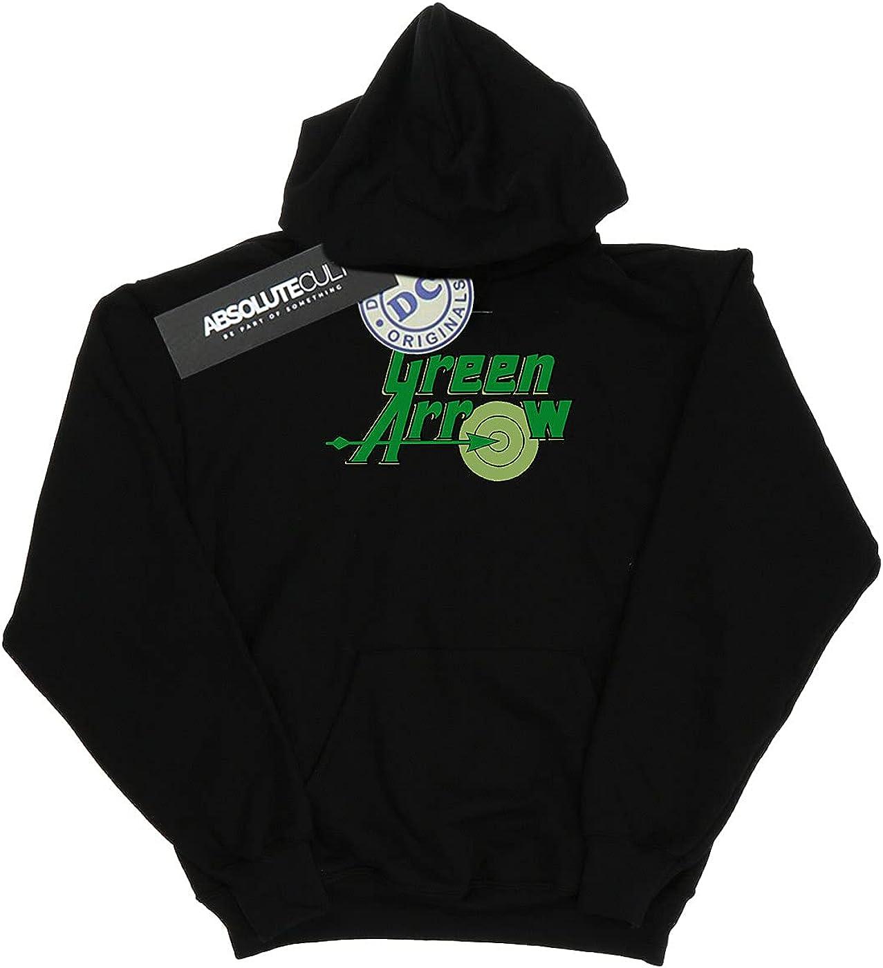 DC Comics Boys Green Arrow Text Logo Hoodie 5-6 Years Black