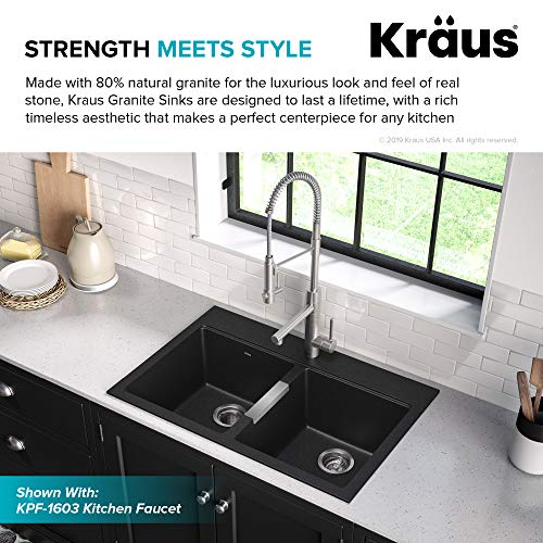 Kraus Quarza Kitchen Sink, 33-Inch Equal Bowls, Black Onyx Granite, KGD-433B model
