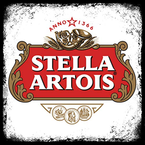Vintage Advertising Wall Tin Plaque Large Square 20x20cm Pub Shed Bar Man Cave Home Bedroom Office Kitchen Gift Metal Sign - Retro Rustic Stella Artois Beer Lager inspired