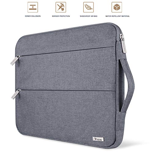Voova Laptop Sleeve Case 11 11.6 12 Inch with Handle Compatible MacBook Air/Chromebook/IPad pro 12.9/Surface Pro 7 6 /, Waterproof Protective Cover Bag with 2 Accessory Pockets-Gray