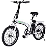 Goplus Folding Electric Bike 20' 250W Sport Mountain Bicycle 6-Speed Gear 36V Lithium Battery (White)