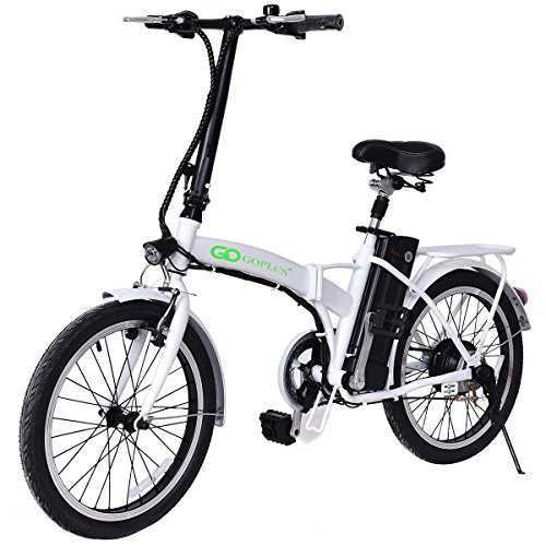 "Goplus Folding Electric Bike 20"" 250W Sport Mountain Bicycle 6-Speed Gear 36V Lithium Battery (White)"