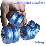 AQOTER Juego de Mancuernas Ajustables de Agua para Pesas de Gimnasia Ajustables para Hombres y Mujeres (Blue-5-20kg)
